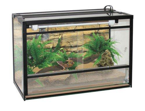 Terraland Terrarium mit Galerie 18W und Lampenfassung für Reptilien und Amphibien