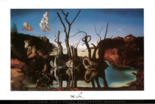 Les Elephants Dali - Salvador Dali - Swans Reflecting Elephants Art Print Poster - 36x24