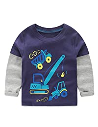 VIYOO Toddler Little Boys Cotton Long Sleeve T-Shirts 100% Cotton Tops Cute Shirt for Age 2-10 Years Old Navy Blue