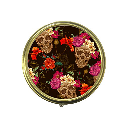 Skull And Flowers Custom Fashion Bronze Tone Round Pill Box Medicine Tablet Holder Wallet Organizer Case for Pocket or Purse