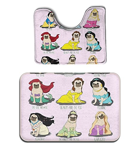 POP MKYTH Memory Foam 2 piece bathroom rug set - Pugs Dogs P
