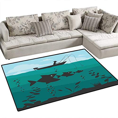 Funky Girls Quilt Rug - Fishing Anti-Skid Rugs Single Man in Boat Luring with Bobbins Nautical Marine Sea Nature Funky Image Print Girls Rooms Kids Rooms Nursery Decor Mats 55