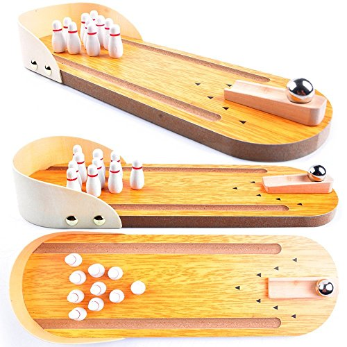 Wooden Mini Bowling Game Set with Lane: Best Interactive Desktop Game for Kids and Adults - Easy to Assemble and Play - Perfect Kids Bowling Set Pin - Mini Tabletop Bowling Toy for Your Little Players (Mini Bowling Set)