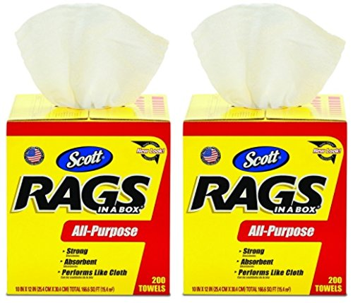 Scott Rags In A Box (75260), White, 200 Shop Towels per box, 2 Cases (8 Boxes)