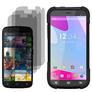 Highest Rated Wireless Inc.Fusion Cover Snap On Case for AT&T, T-Mobile, H2O, Net 10 Blu Life Play X L102A x3 Fitted Screen Protector-Black