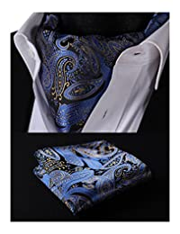 HISDERN Men's Paisley Floral Ascot Jacquard Woven Cravat Tie and Pocket Square Set