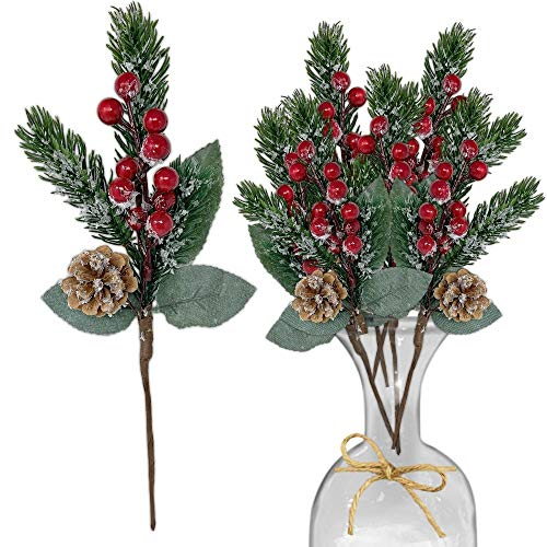 Pine Snowy Flower Picks 10 Pieces-Snow Flocked Red Holly Berry Pine Cone Holiday Floral Sprays Decoration 11 Inch Flexible Stems - DIY for Christmas Crafts Party Festive Home Décor