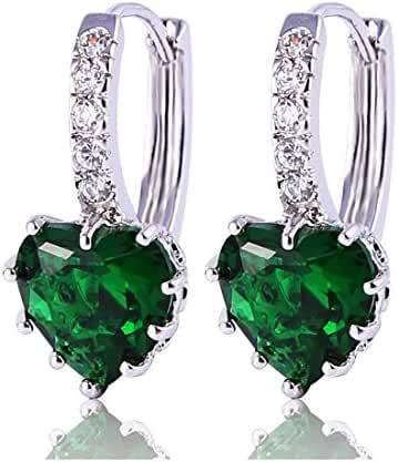 GULICX White Gold Tone Heart Shape Crystal Clear Cubic Zirconia Huggie Lever Back Hoop Earrings for Girl