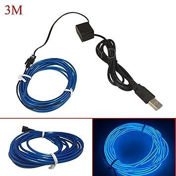 Amazon.com : Your Supermart 3M Flexible EL Wire Neon LED Strip USB ...