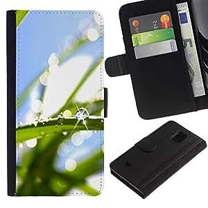 Be Good Phone Accessory // Caso del tirón Billetera de Cuero Titular de la tarjeta Carcasa Funda de Protección para Samsung Galaxy S5 Mini, SM-G800, NOT S5 REGULAR! // Water Drop Mac