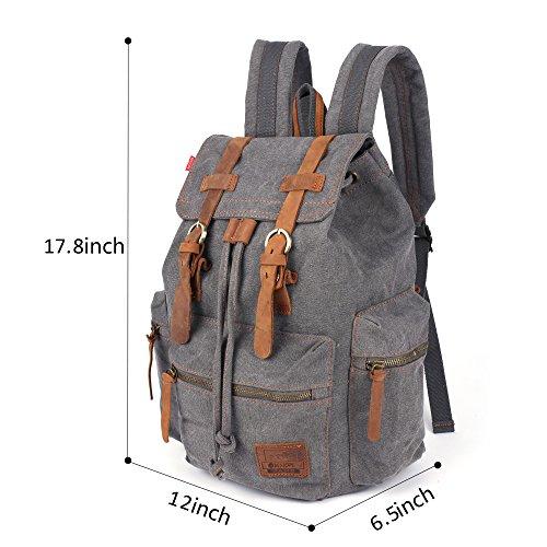 Canvas Vintage Rucksäcke BESTOPE Damen Herren Schulrucksack Retro Backpack für Campus Studenten und Outdoor Reisen Wandern mit Großer Kapazität Grey ob7oB