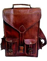 13 Genuine Leather Vintage Laptop Backpack Shoulder Messenger Bag Briefcase