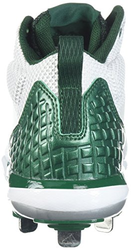 Scarpa Da Baseball Adidas Uomo Man Freak X Carbon Mid, Bianco Ftw, Argento Met, Verde Scuro, 10,5 M Us