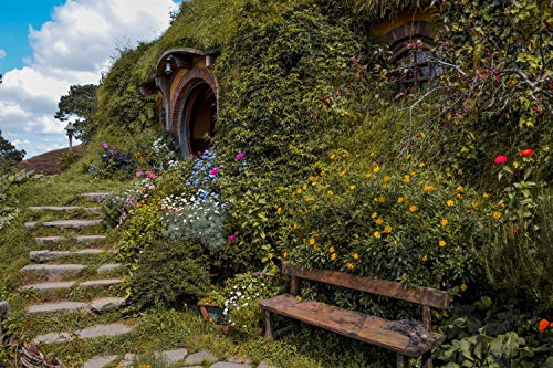 Fondo para fotografía de cielo azul rústico con césped verde nostalgia, puerta de madera redonda, telón de fondo, para...