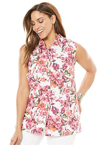 Jessica Floral Blouse - Jessica London Women's Plus Size Sleeveless Poplin Blouse Raspberry Floral,24 W