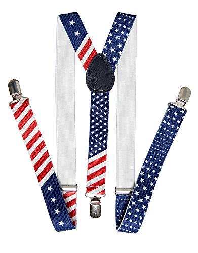 Men's Novelty Patriotic USA Flag Suspenders Bowtie Necktie Set (Suspender), One size - Novelty American Flag