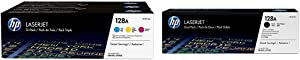 HP 128A (CF371AM) Cyan, Magenta & Yellow Original LaserJet Toner Cartridges, 3 pack and HP 128A (CE320AD) Black Original LaserJet Toner Cartridges, 2 pack Bundle