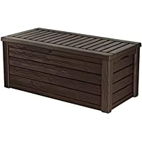 Keter Westwood 150 Gallon Resin Large Deck Box-Organization and Storage for Patio Furniture, Outdoor Cushions, Garden Tools and Pool Toys, Brown