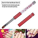Ycyan 2Pcs Oval & Flat UV Gel Nail Brush Set