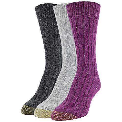 Gold Toe Women's Weekender Socks, 3 Pairs, Raspberry/Grey/Black, Shoe Size: 6-9