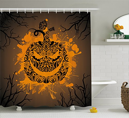 Halloween Decorations Shower Curtain by Ambesonne, Engraved Pumpkin with Fire Flame Color Splash Ghost Party Theme Art, Fabric Bathroom Decor Set with Hooks, 70 Inches, Brown Orange (Season 7 Modern Family Halloween)