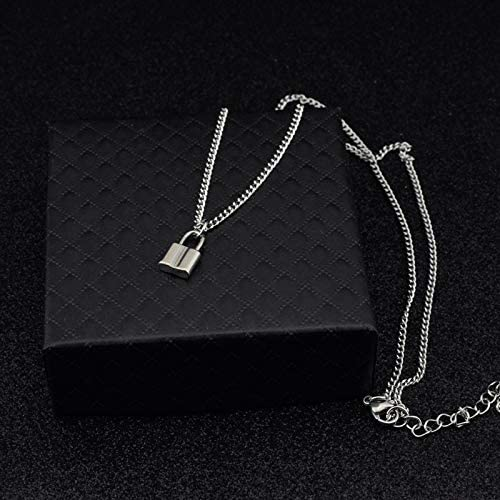 Lock Chain Pendant Necklace Adjustable Jewelry Heart Locket Long Choker Necklace for Women EGirls EBoys Christmas Birthday Valentines Day Gifts Silver Lock Necklace for Women Men