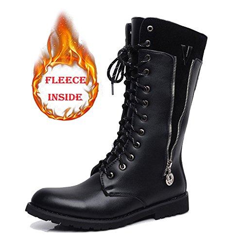 Botas Zapatos Superior Y Para Lateral Caballeros La weifeng Inside Black Martin De Cremallera Pantorrilla Media Cuero Los Combate Lace Up Hombres Fleece Cvxwavq5S