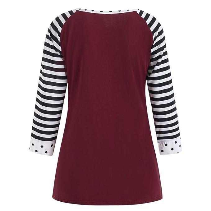 ❤ Camiseta Manga Larga Mujer Raya, Las Mujeres Ocasionales del O-Cuello Dot impresión Blusa Tops otoño Absolute: Amazon.es: Ropa y accesorios