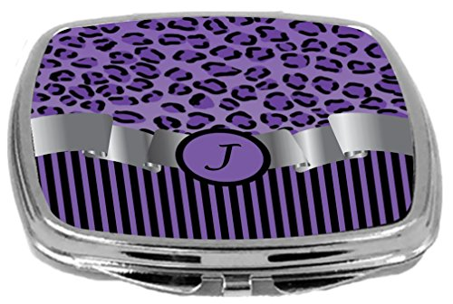 - Rikki Knight Compact Mirror, Letter j Initial Purple Leopard Print and Stripes