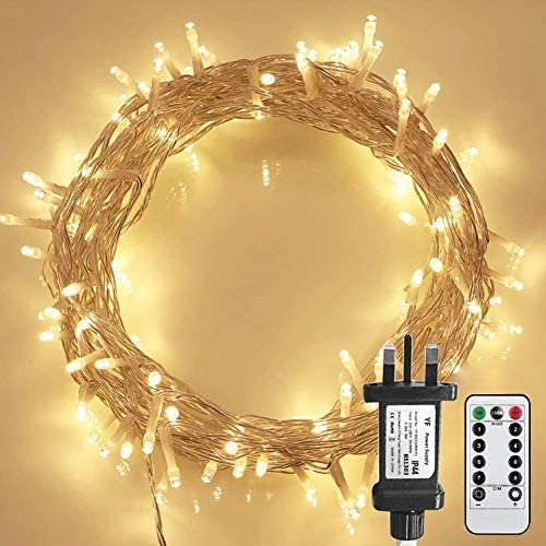 [Remote Control] STARKER Warm White Fairy Lights Plug in, 10m 100LED Indoor Christmas Lights with Timer (8 Modes, Dimmable,Clear Cable, Low Voltage Plug) for Garden, Bedroom, Festival Decoration)
