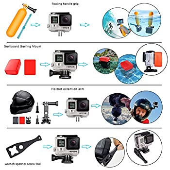 Erligpowht Action Camera Mounts For Gopro 6 Gopro Hero 5 4 3 Gopro Hero Session Sj4000 Sj5000 Akaso Apeman Xiaomi Yi Wimius Sony Sports Dv With Gopro Hero Accessories Carry Case 3