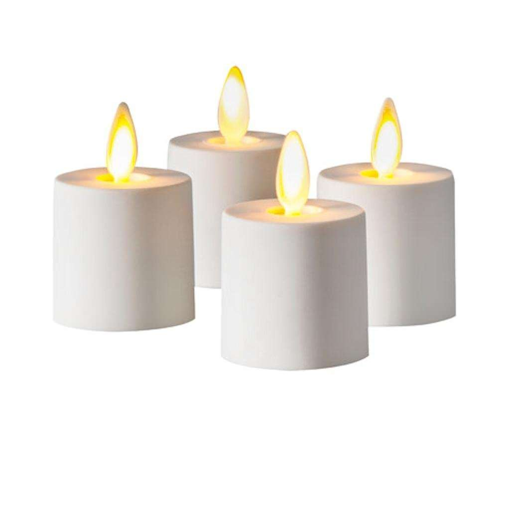 Luminara 02530 - 1.25'' x 1.4'' White Remote Ready Battery Operated Plastic LED Flameless Tea Light (4 pack)