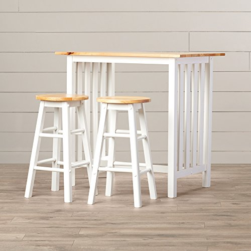 - Counter Height Table Set - 3 Piece Home Pub or Breakfast Furniture - Table And 2 Chairs - Quality Furniture - White With Natural Birch Wood Top