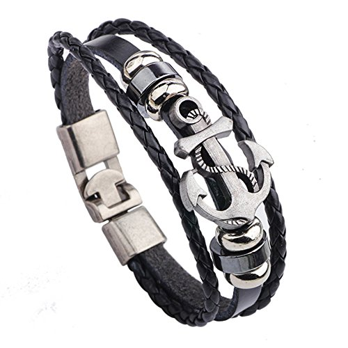 Popular Style Ship Anchor Pull Clasp Leather Bracelet Wooden Beads Accessories Adjustable Cuff Charm Bangle