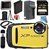 Fujifilm FinePix XP90 Digital Camera (Yellow) 16500466 + Sony 32GB SDHC Card + Lithium Ion Battery + External Rapid Charger + Memory Card Wallet + Card Reader + Fibercloth + HDMI Cable Bundle