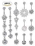 SEVENSTONE 10PCS Stainless Steel Belly Button Rings for Girls Women Navel Piercing Bars Body Jewelry