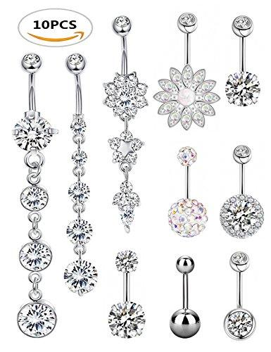 Girl Navel Ring - SEVENSTONE 10PCS Stainless Steel Belly Button Rings for Girls Women Navel Piercing Bars Body Jewelry