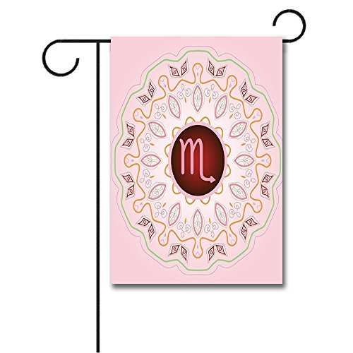 Wondertify Garden Flags Zodiac Scorpio Astrology Sign on an Ornate Oriental Mandala Figure Pink Backdrop Double Sided House Decoration Polyester Garden Flag 12 X 18 Inches