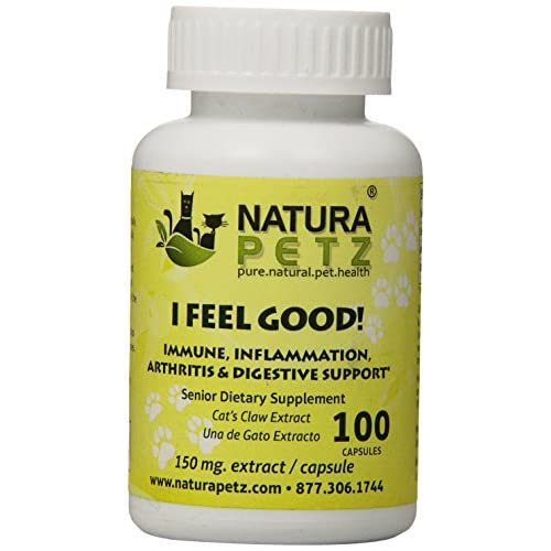 Natura Petz I Feel Good! Immune, Inflammation, Arthritis and Digestive Support for Senior Pets, 100 Capsules Extract, 150mg Per Capsule low-cost