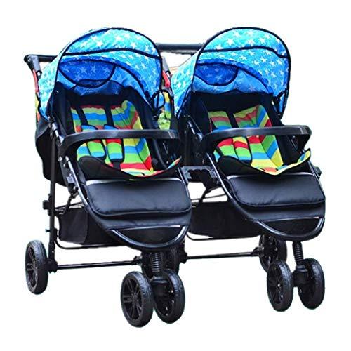 TZZ Double Baby Stroller, Jogging Stroller, Twin Tandem Umbrella Stroller with Adjustable Backrest, Footrest, 5 Points Safety Belts, Foldable Design for Newborn and Toddler (Color : Blue)