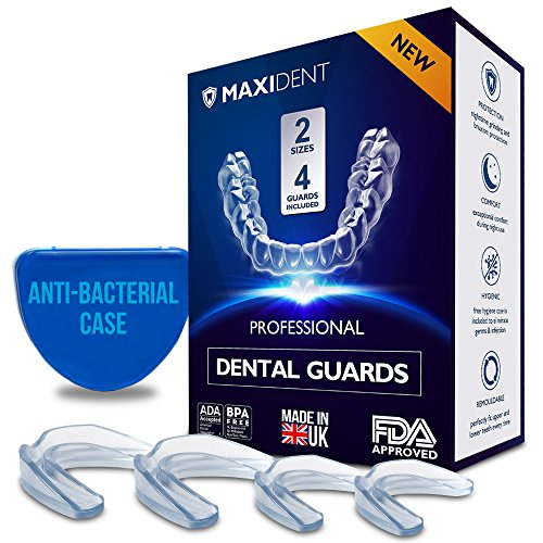 Professional Dental Guard - MADE IN UK - Remouldable Night Guard - Pack of 4 - Teeth Grinding Night Protector, Athletic Mouth Guard, Teeth Whitening Tray - BPA Free - Protects from Bruxism, Clenching