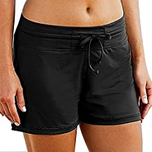 Women Swim Shorts Boardshorts Drawstring Bikini Brief Bottoms with Pocket
