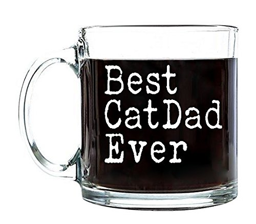 P&B Best Cat Dad Ever, Father's Day Unique Birthday Gift for Dad, Coffee Tea or Beverages, Clear Glass Mugs 13 oz. G102 (13 oz.)