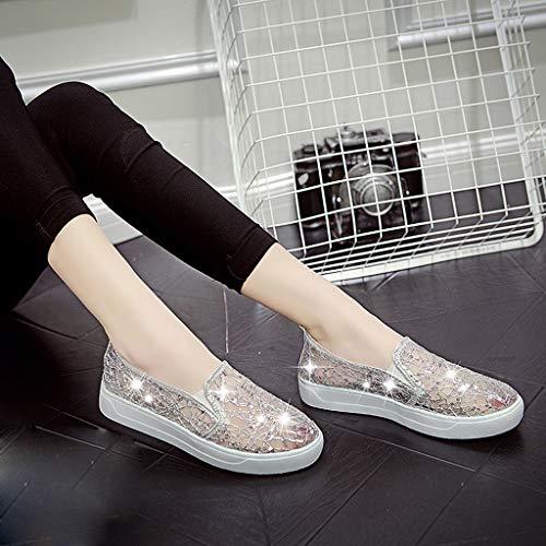 Respirante Sport Women Fitness Scarpa Per Regalo Shoes Running Pigre Casual Scarpe 2019 Stampa Nuovi Sneakers Ihengh Pelle Donna Sliver Pu Moda Rete Ragazza Ginnastica EqTXB