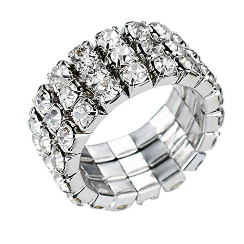 WTZ - New Sparkling 3 Row Rhinestone Stretch Ring 3 Row Stretch Rhinestone Bracelet