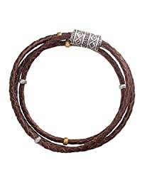 Silpada'sterling Silver, Brass, and Genuine Leather Multi-Purpose Bracelet, 29""