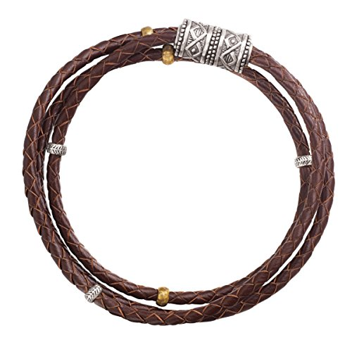 (Silpada 'Multi-Purpose' Genuine Leather Wrap Chain Bracelet in Sterling Silver and Brass, 29