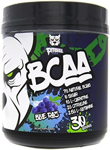 PITBULL LABS BCAA s 7g Natural BCAA s, ZERO Sugar, 1g L-Carnitine, 2g Citrulline, 25g L-Glutamine, 30 Servings Blue Raz