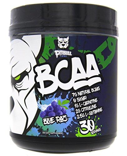 PITBULL LABS BCAA s 7g Natural BCAA s, ZERO Sugar, 1g L-Carnitine, 2g Citrulline, 25g L-Glutamine, 30 Servings Blue Raz