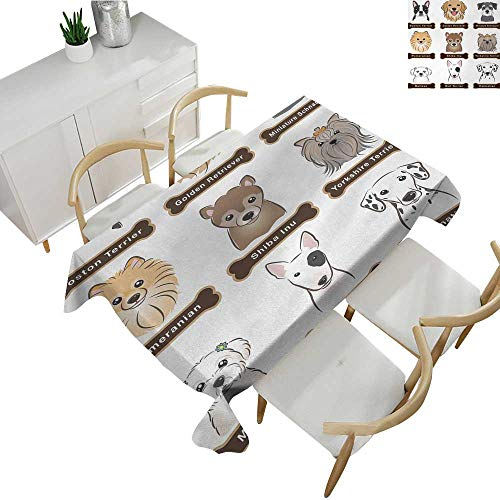 e Cover Various Type of Dogs Nameplate Boston Terrier Domestic Animal Faithful Loyal Table Cloth Cover Wedding Event Party Grey Cream White 54